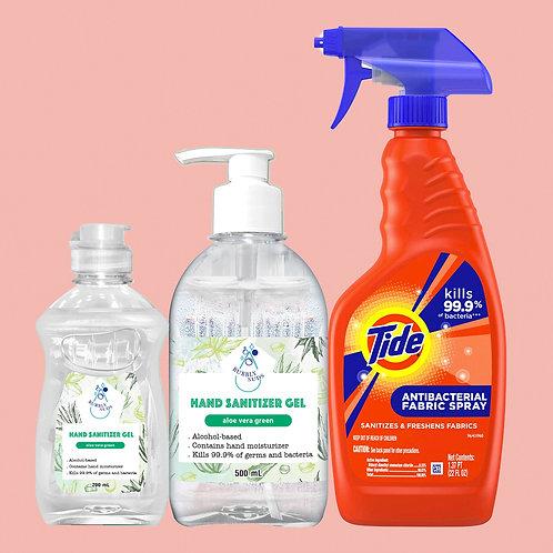 Tide Antibacterial Fabric Spray (22fl oz) + 2 Hand Sanitizer Aloe 200mL & 500 mL