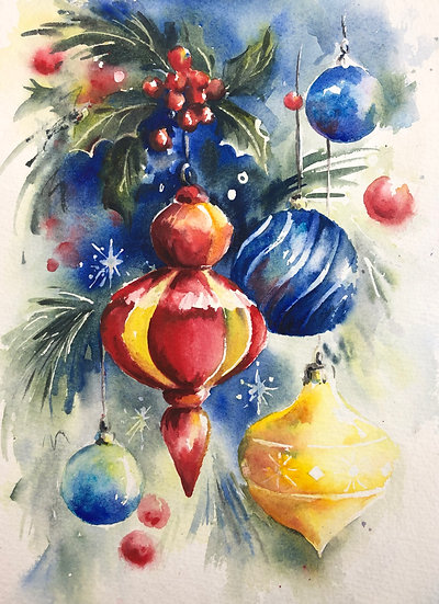Festive Baubles in Vibrant Watercolour with Nicky Hunter -30th November 2020