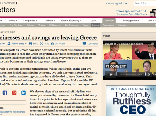 Letter on Business and Savings Migration from Greece published in the Financial Times