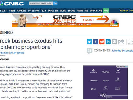 Philip Ammerman interviewed on CNBC on business flight from Greece