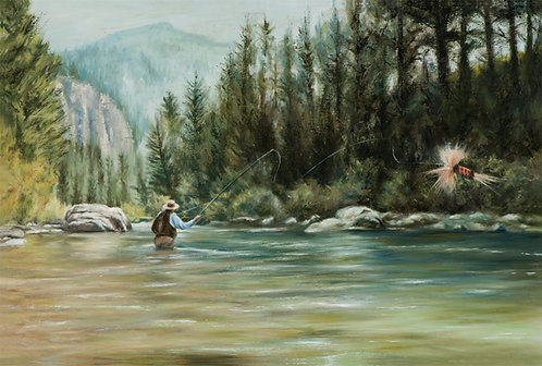 Fly fisherman in water by artist Travis Knight