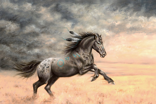 Appaloosa Horse painting with thundering clouds and grey skies by artist Travis Knight