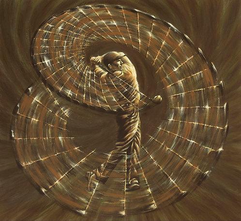 Ben Hogan kinetic energy swing painting by Travis Knight