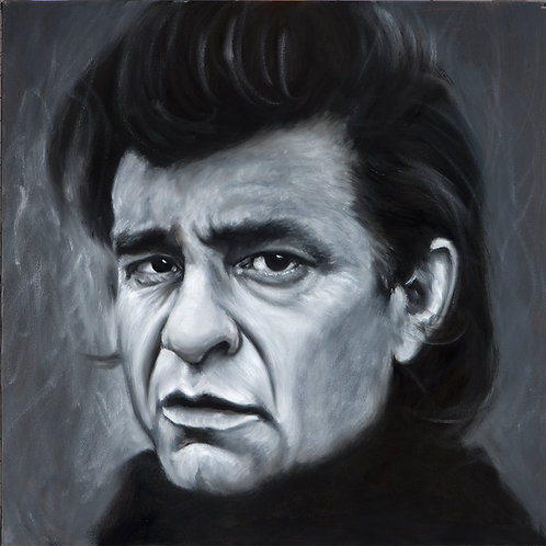 Johnny Cash black and white painting by Travis Knight