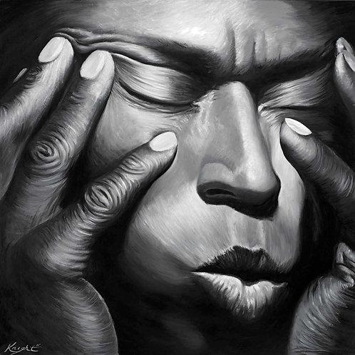 Miles Davis portrait painting by Travis Knight