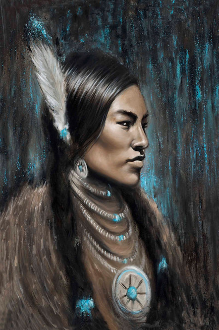 Sacajawea Native American portrait painted by artist Travis Knight