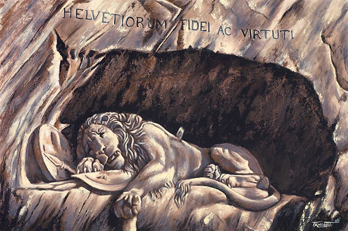 Lion of Lucerne painting by Travis Knight depicting the rock relief in Lucerne, Switzerland