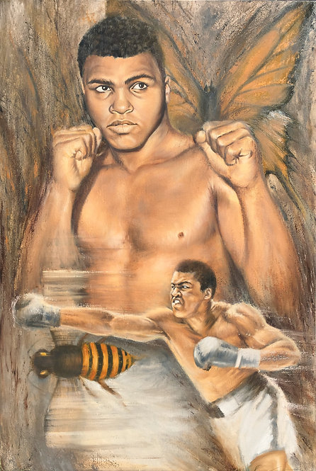Muhammad Ali boxing pose painting by Travis Knight