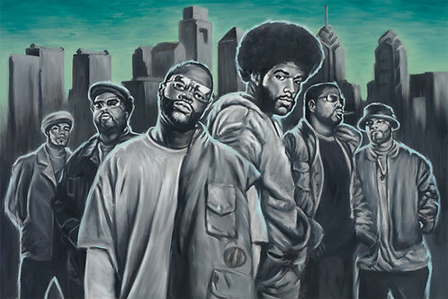 The Roots Crew painting by Travis Knight, in black, white and aqua