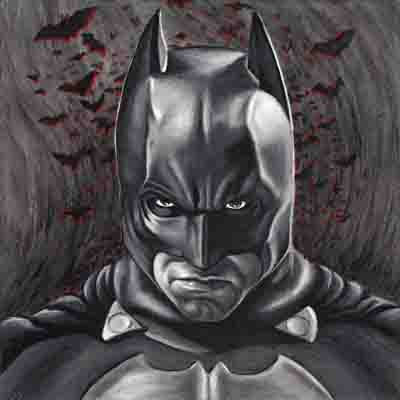 Batman painting in stunning black and white by Travis Knight