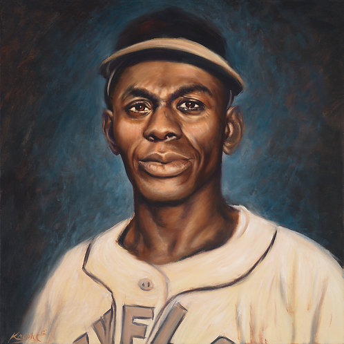 Satchel Paige negro league vintage style portrait by Travis Knight