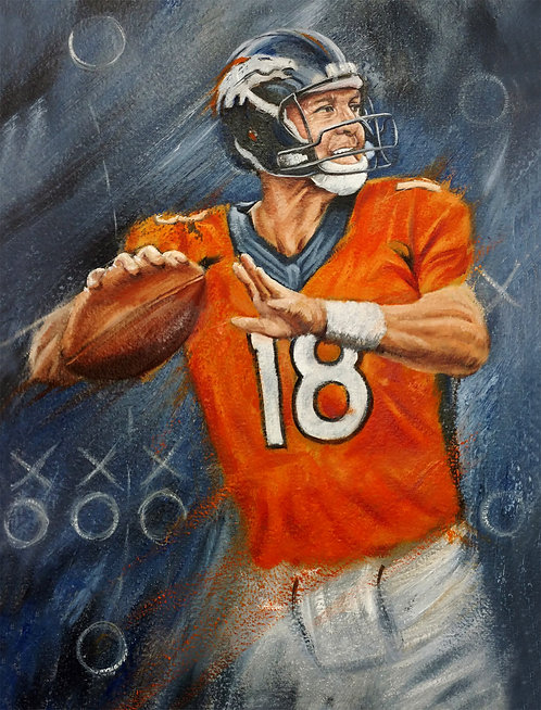Peyton Manning Broncos football player portrait by Travis Knight