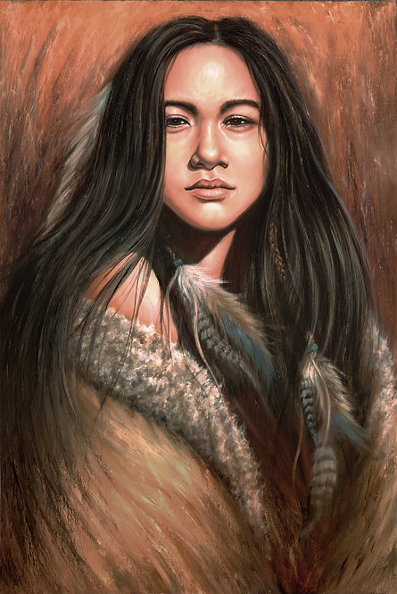 Awakened Light Native American female portrait painting by artist Travis Knight