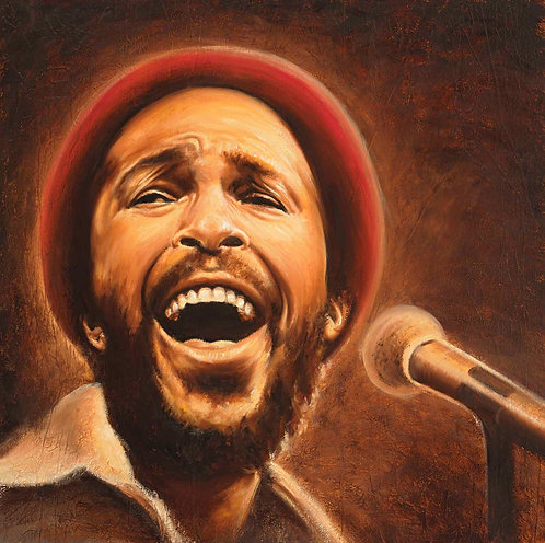 Marvin Gaye sepia toned portrait by Travis Knight