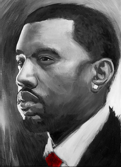 Kanye West painting by Travis Knight in black and white