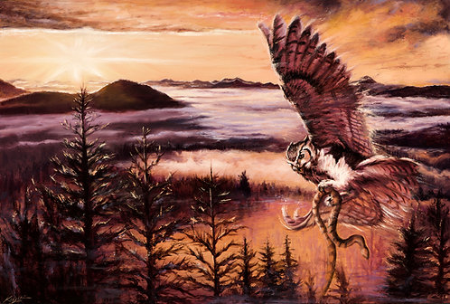 Great Horned Owl carrying snake over pines in monochrome painting by artist Travis Knight