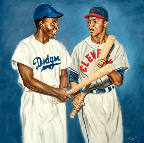 Jackie Robinson and Larry Doby painting by Travis Knight