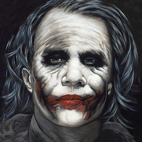 Joker from Batman in black and white painting by Travis Knight