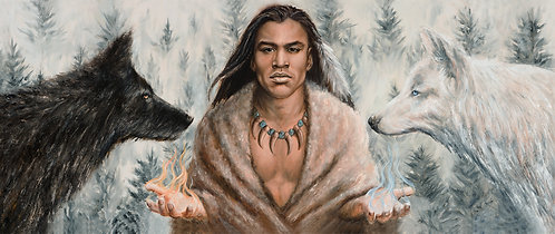 Native American Male sitting between two wolves, depicting the choice between dark and light by artist Travis Knight
