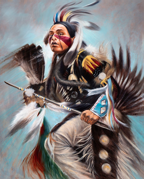 Menominee Dancer with full attire painted by artist Travis Knight