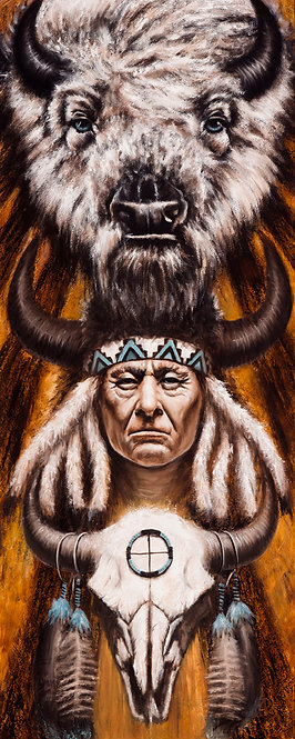 White Buffalo Native American painting with skull and symbols by artist Travis Knight
