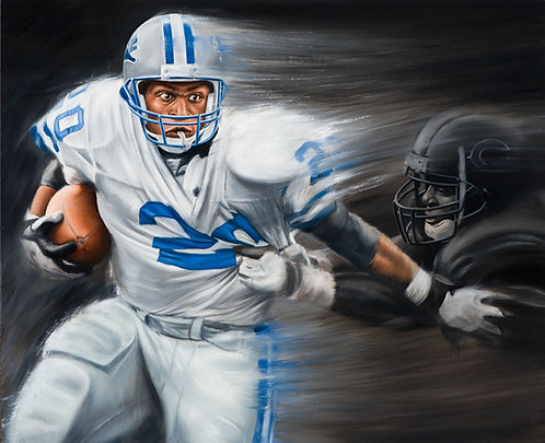 Barry Sanders NFL football legend of Detroit Lions painted in full motion by artist Travis Knight