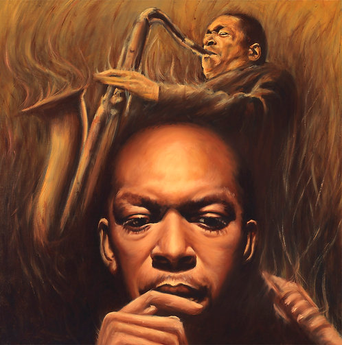 John Coltrane painting by Travis Knight in warm monochromatic palette