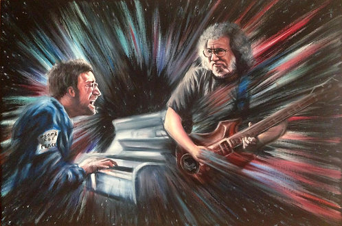 Painting of John Lennon and Jerry Garcia jam session, by Travis Knight