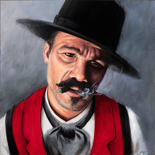 Doc Holiday painting in greys and red by artist Travis Knight