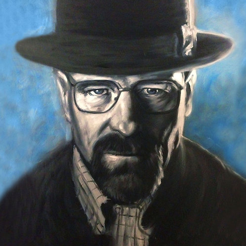 Walter White painting by Travis Knight in black and white with blue background