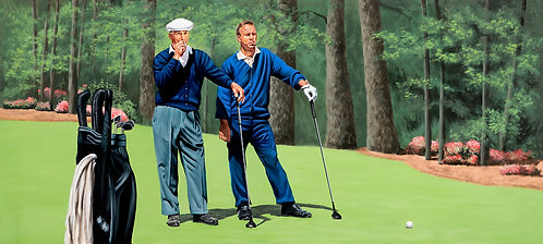 Ben Hogan and Arnold Palmer golfing painting by Travis Knight