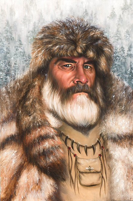 Mountain Man painting in winter scene and furs by artist Travis Knight