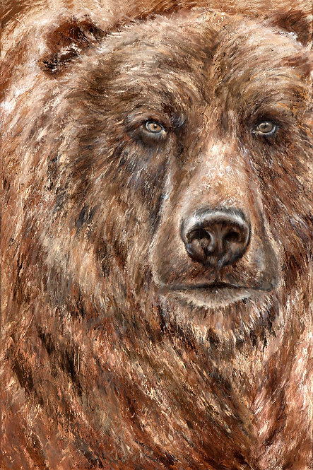 Grizzly Bear close up painting in warm browns by artist Travis Knight