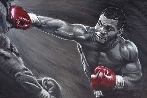 Mike Tyson punching  with red gloves on black and white portrait by Travis Knight