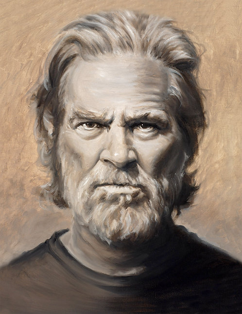 Jeff Bridges painting by Travis Knight in sepia and browns
