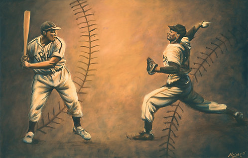 Josh Gibson and Satchel Paige vintage style paintings prints by Travis Knight