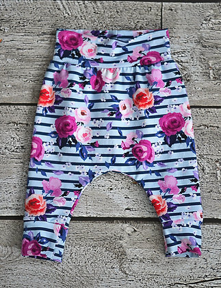 Purple Floral Harem Pants 0-3m