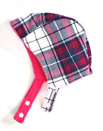 Pink/Navy Plaid Winter Bonnet 3-6m