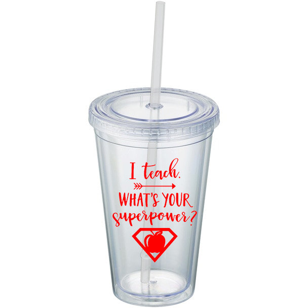 6c17d445607 This is a double-walled, BPA-free acrylic tumbler that includes a straw and  stopper with lid. Great for summer parties or wedding party gifts. Holds  16oz.