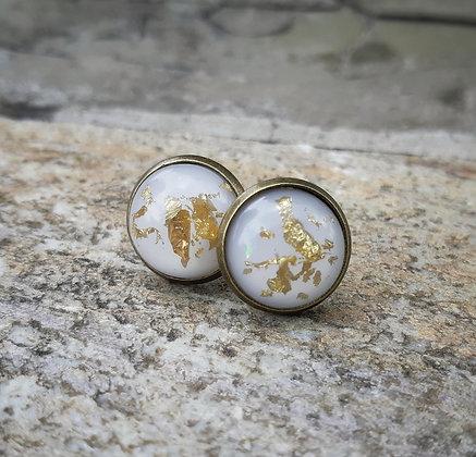 White Foil Earrings