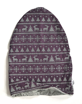 Purple Deer Slouchy Beanie 9-12m