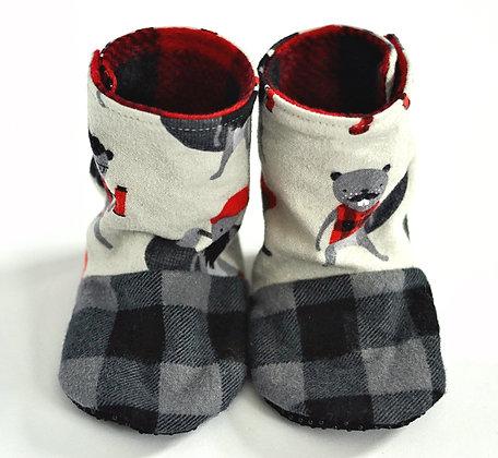 Beaver/Plaid Menta Boots 9-12m
