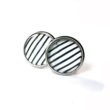 Black & White Stripe Earrings