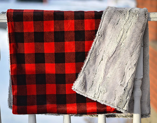 Red Plaid/Grey Double Sided Minky Blanket