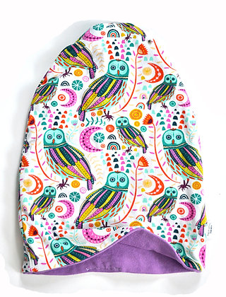 Purple Owls Slouchy Beanie 6-9m