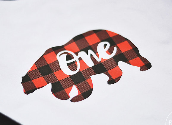 One Plaid Bear Onesie 12-18m