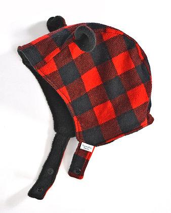 Red Plaid Bear Winter Bonnet 6-12m