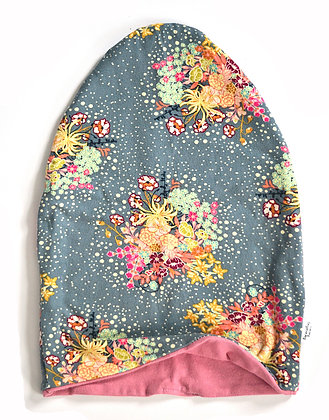 Grey Floral Slouchy Beanie 3/4T