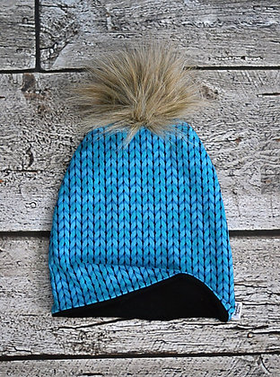 Blue Knit Pom Pom Beanie 6-9m