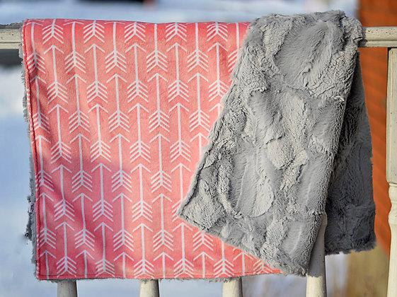 Pink Arrows/Grey Double Sided Minky Blanket